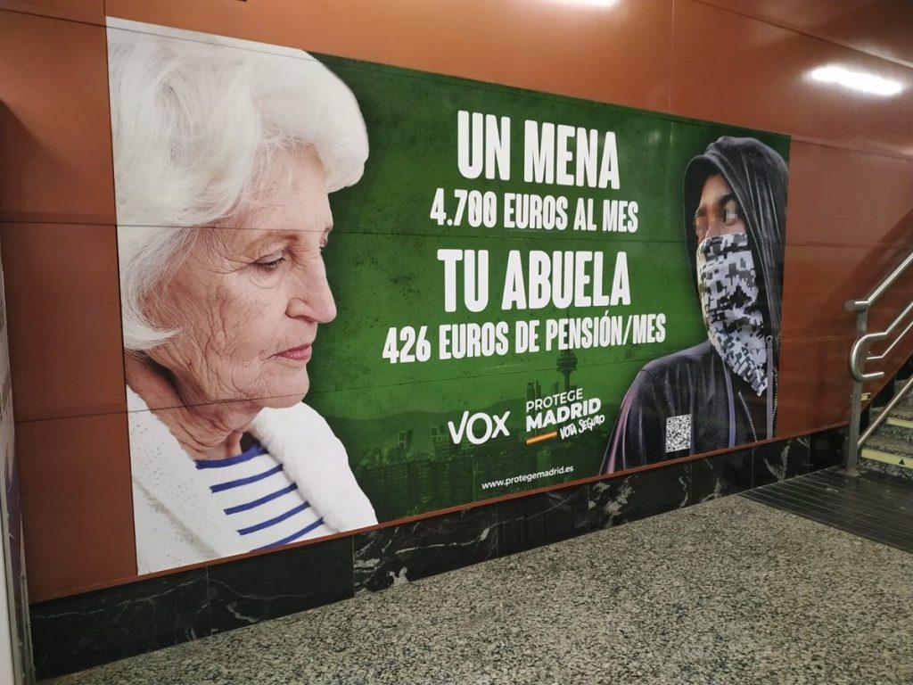 La Fiscalía de Madrid investigará a Vox por un delito de odio en un cartel electoral contra los 'menas'