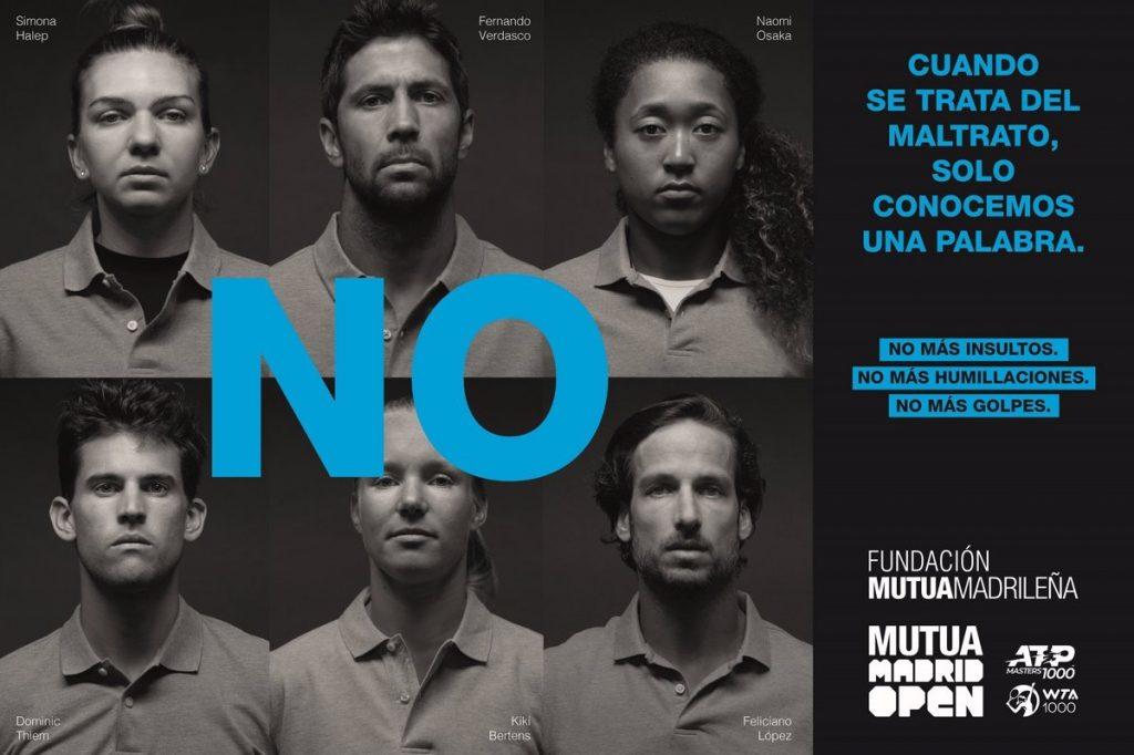 Los tenistas que participan en el Mutua Madrid Open dicen 'no' a la violencia de género