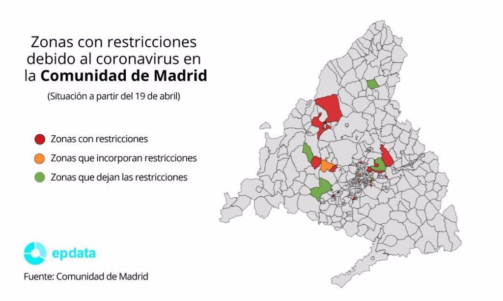 Casi medio millón de madrileños están afectados por las restricciones en 17 ZBS y 3 municipios