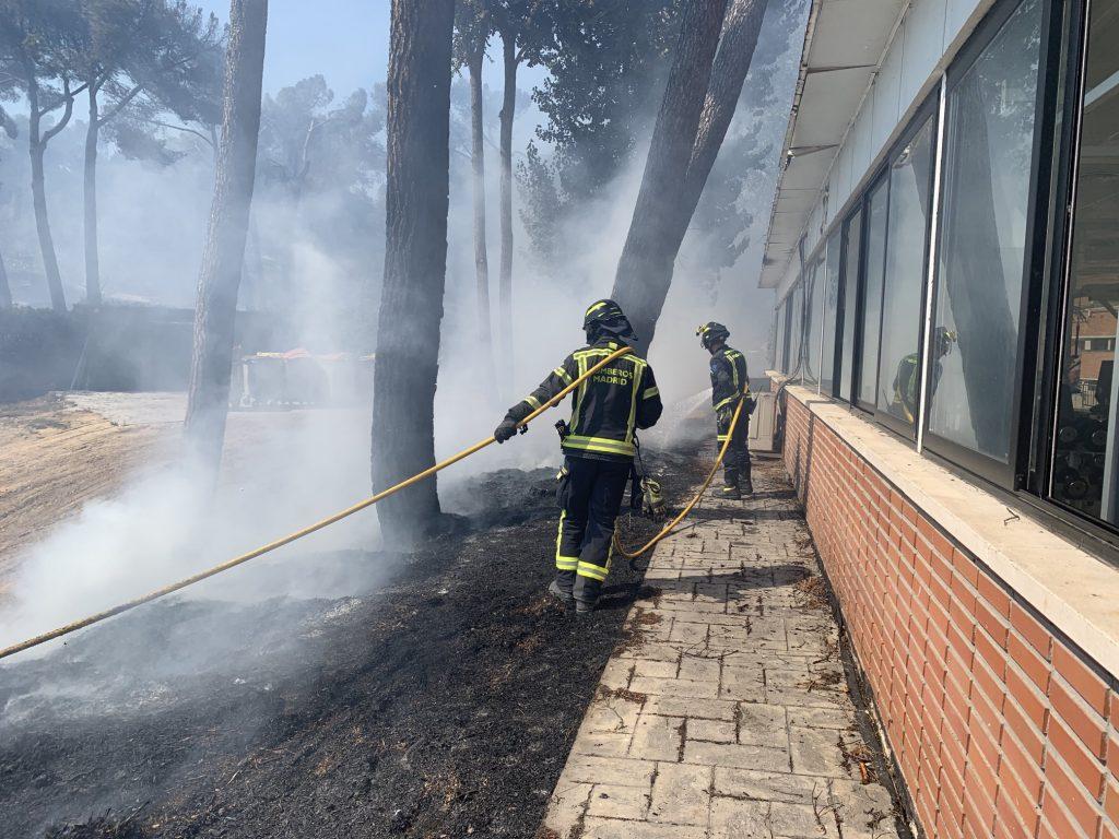 Los Bomberos extinguen un incendio en una zona de pastos próxima a Ciudad Universitaria
